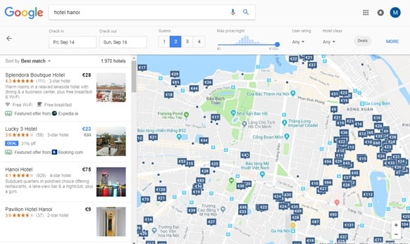 Google Hotel Search Interface