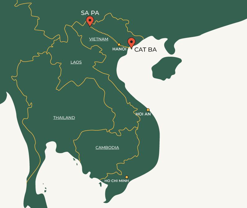 CatBa to SaPa travelroute