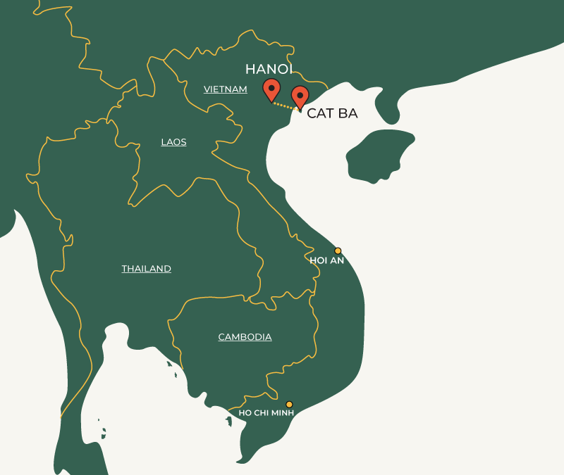 Hanoi to CatBa travelroute