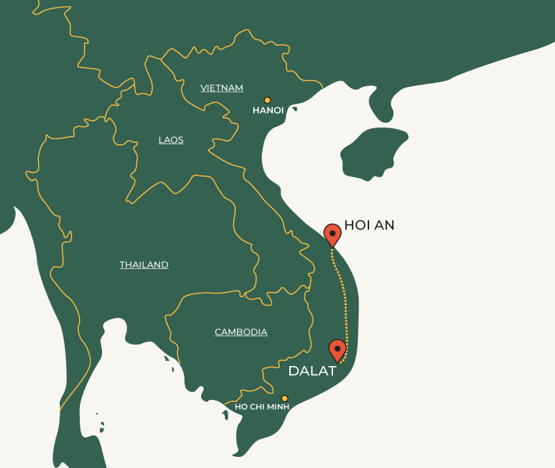 Hoi An to DaLat travelroute