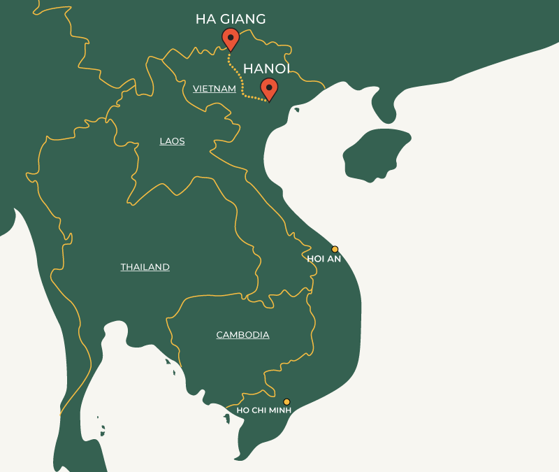 Hanoi to Halong Bay travelroute