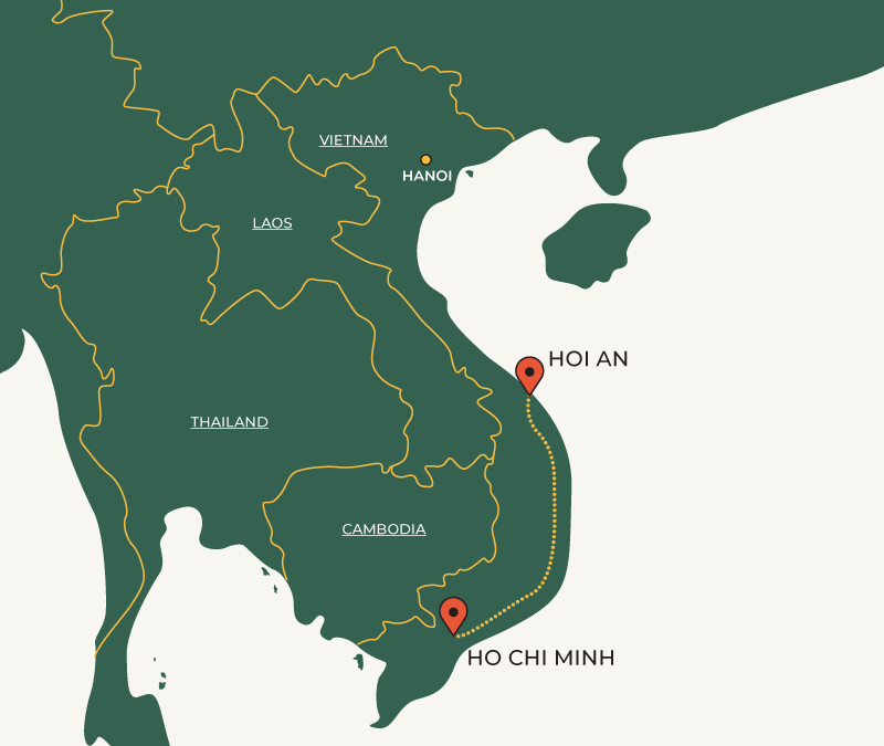 Ho Chi Minh to Hoi An travelroute