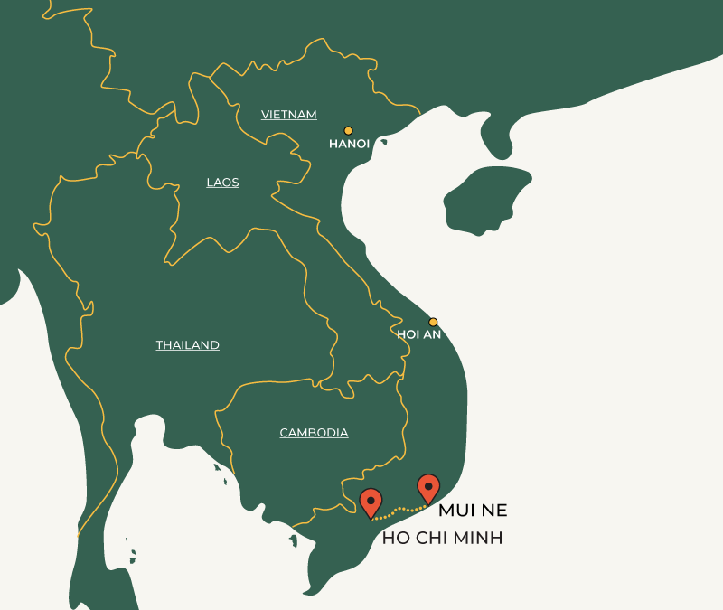 Mui Ne to Ho Chi Minh travelroute