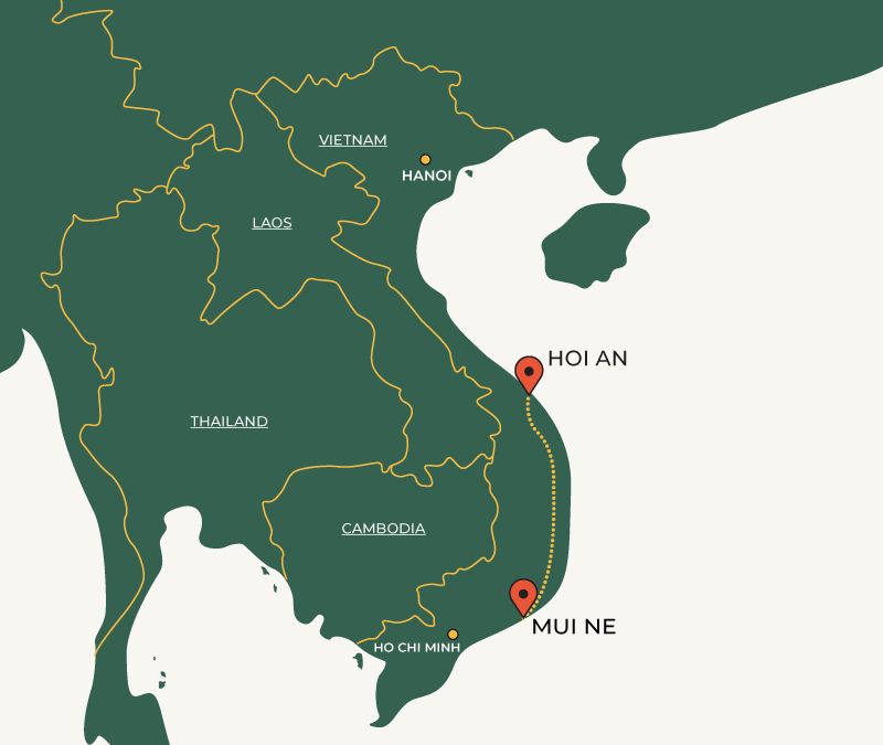 Hoi An to Mui Ne travelroute