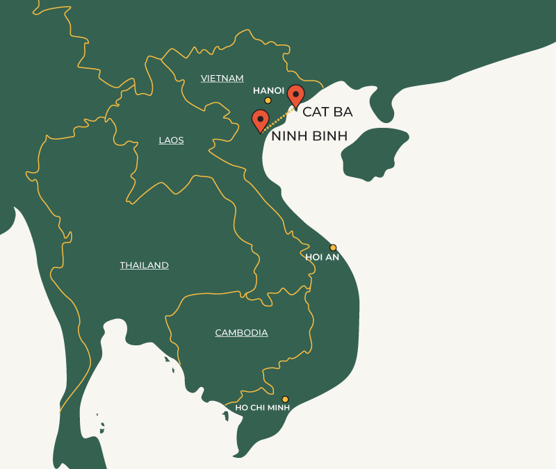 CatBa to Ninh Binh travelroute