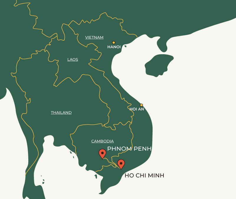 Phnom Penh to Ho Chi Minh travelroute