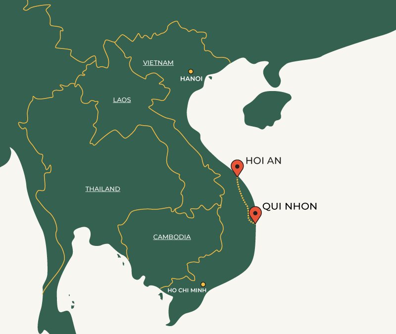 Quy Nhon to Hoi An travelroute