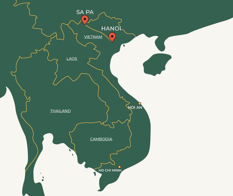 Sapa to Hanoi travelroute